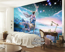 beibehang 3d wallpaper Interior painting hand painted romantic high quality oil Sagittarius children comic