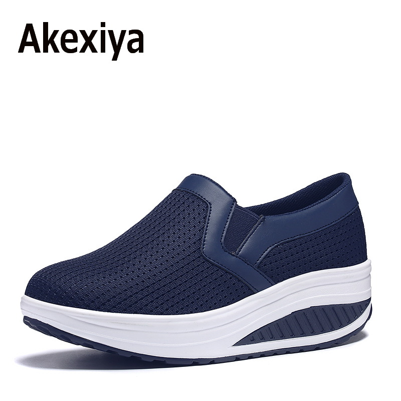 Akexiya Women Shoes Mesh Breathable Summer Shoes Flats Women Casual Swing Loafers Women Footwear Size 35-42 akexiya women shoes for summer casual shoes lace up breathable mesh shoes unisex light platform flats 3 colors size plus 35 46