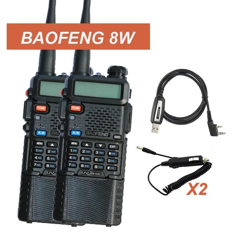imágenes para 2 unids UV-8HX BAOFENG Walkie Talkie UV-5R Versión Mejorada 8 W Radio UHF + VHF de Dos Vías de Radio FM función w/Original UV-5RE bf-888s UV5R