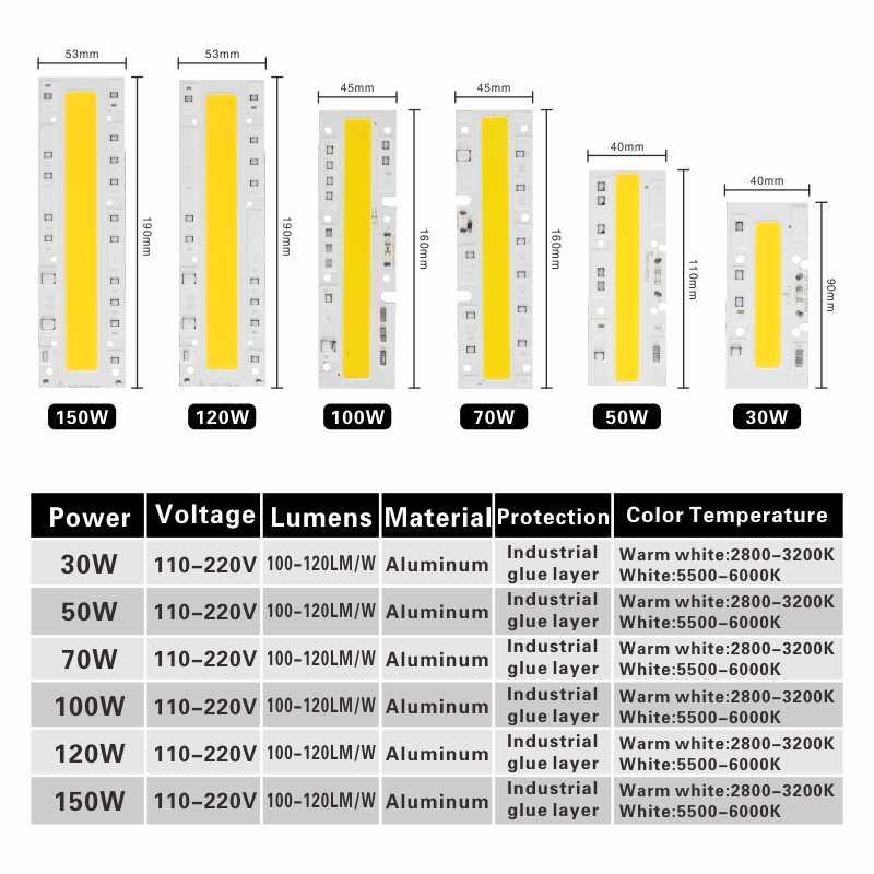 LARZI LED COB Lamp Chip 10W 20W 30W 50W 70W AC 110V 220V Smart IC DIY LED Floodlight Spotlight Day White Cold White Warm White