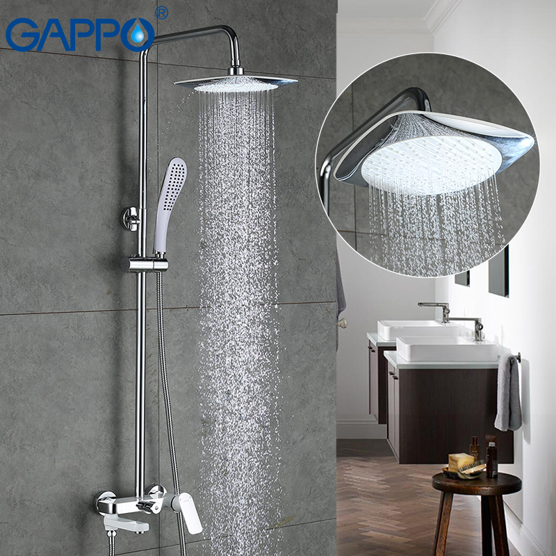 GAPPO  Top Quality Bath Shower Faucets Set Bathroom Mixer Shower Bathtub Rainfall Shower Set In Slide Bar Big Shower Head GA2448