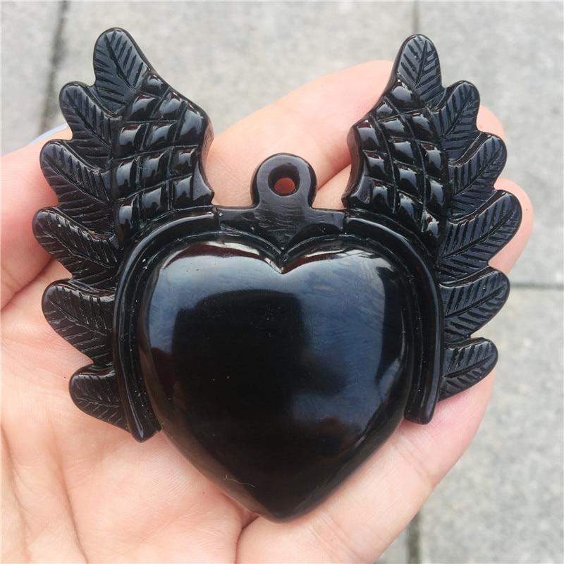 Belles sculptures en cristal naturel sculpté à la main obsidienne pierre ange ailes coeur collier bijoux de mode cadeaux 1 pièces