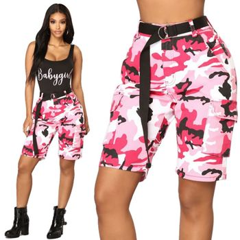 Women Hip Hop Camouflage Print Casual Low Waist Knee-length Pants Button Fly Pockets Pants Streetwear фото