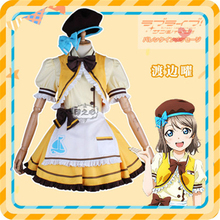 Anime lovelive  sunshine Aqours Watanabe You Cosplay Costume Restaurant cafe dessert stripe maid outfit