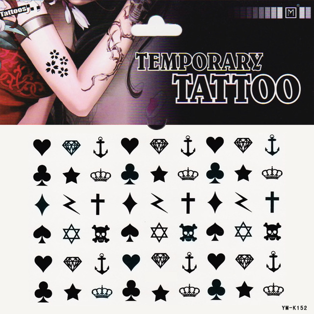 Temporary Transfer Tattoo Star Heartsdiamondsanchor Crown Many