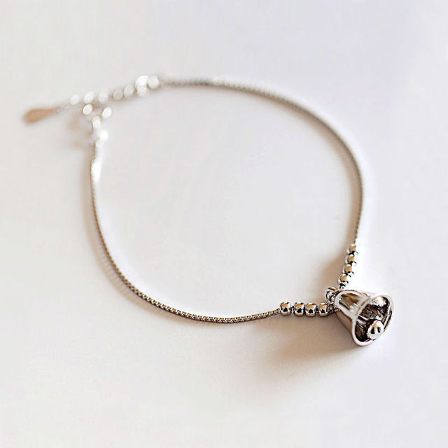 925 Sterling Silver Bracelets Wind Chimes Small Bell Charm For Cute Lovely Thin Chain