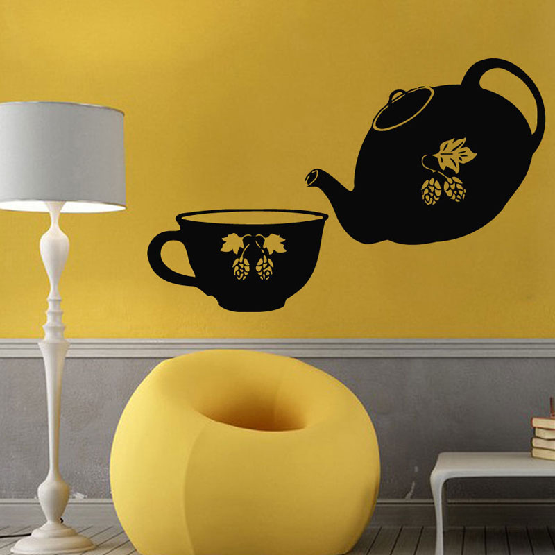Vintage Home Decor For Kitchen Teapot Tea Cup Vinyl Wall Sticker Restaurant Dining Room Wall Decals Removable Mural K29