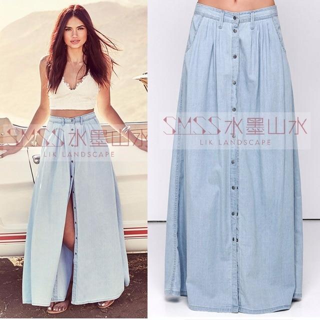 2017 Summer Plus Size S-XXXL European and American Fashion Casual Cotton  Denim Long Skirts Womens   Jeans Maxi Button Skirt d553ff3437b8