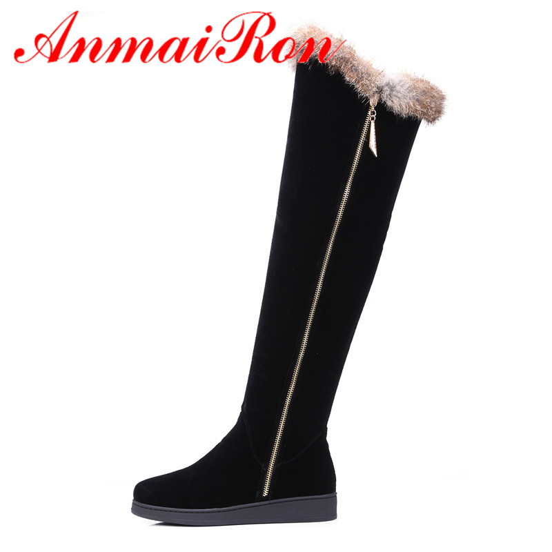 ANMAIRON Winter Warm Long Boots Shoes Woman Round Toe Zippers Over-the-knee for Women Large Size 34-43 Black Western