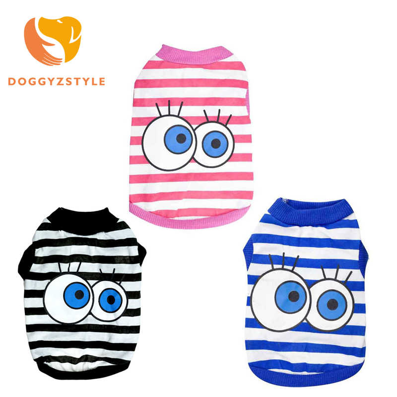 Pet Dog Vest Shirts Puppy Cat Cotton Striped Big Eyes T-shirt Coat Clothes For Small Big Dogs Costumes HOT Summer