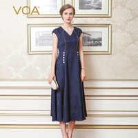 VOA 2018 Summer Heavy Silk Vintage Women Maxi Dress Fashion Plus Size Sexy V-neck Elegant Slim Navy Blue Dress ALX05401