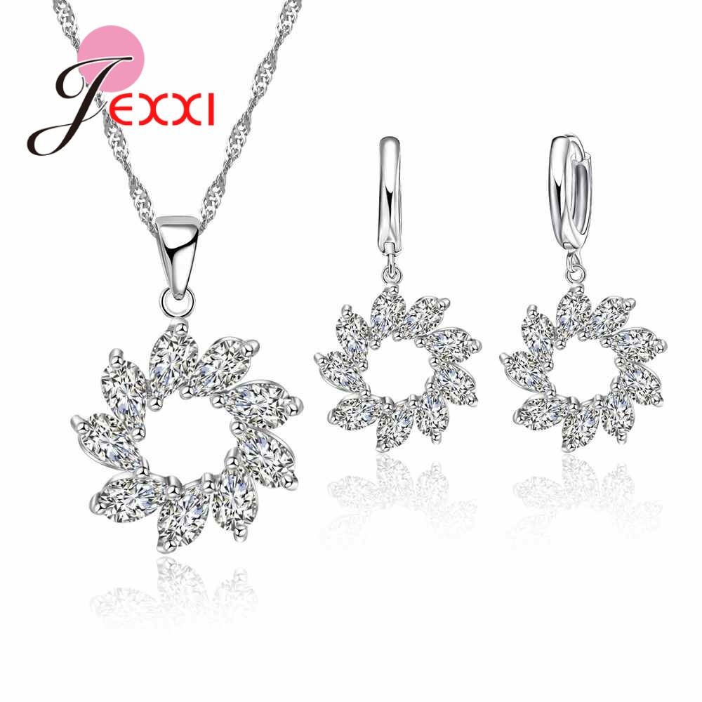 JEXXI Brand Women Cubic Zircon Wedding Jewelry Sets S90 Silver Pendant Necklace Earring Set For Engagement Accessory