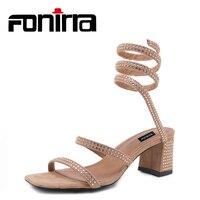 Hot Sale Ankle Strap Shoes Woman Sandals Superstar Slide Gladiator Sandals Women Flats Block Heels Crystal