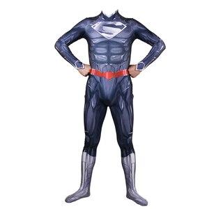 Image 5 - Adult Men Superman Clark Kent Cosplay Costume Zentai Superhero Bodysuit Suit Jumpsuits Cloak