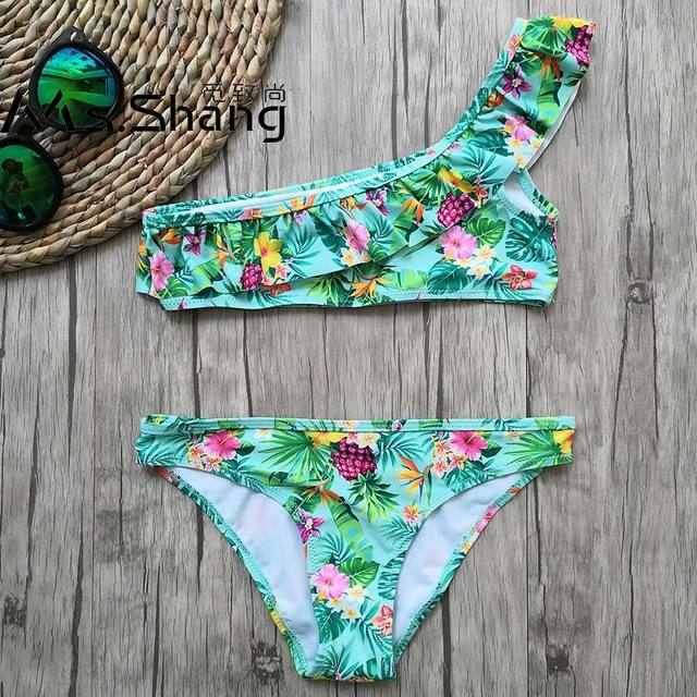 8-16 Years Girl Swimsuit Print Teenager Girl Bikini One Shoulder Swim Wear Falbala Two Piece Children Swimwear Girl Bathing Suit