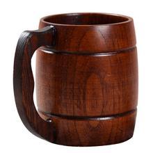Adeeing Stylish Wooden Handled Beer Cup Coffee Tea Juice Milk Wine Mug Gift Decoration particular handled skull design 400ml wine coffee tea cup