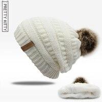 2017 Hot Double Layer Fur Ball Cap Pom Poms Winter Hat For Women Girl S Hat