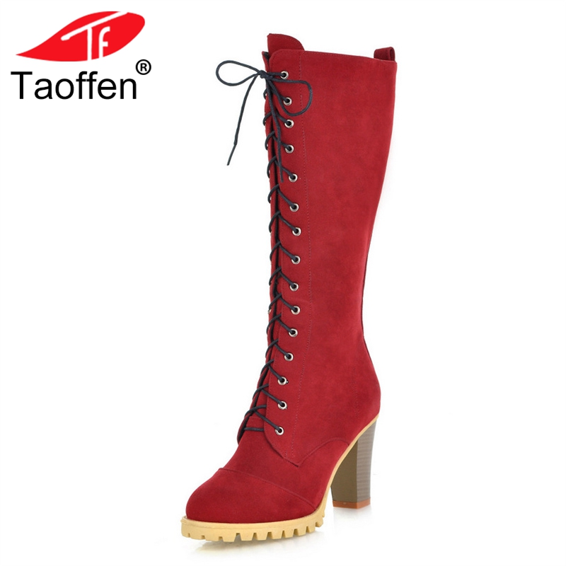 Taoffen Women Boots High Heels Lace Up Winter Long Boots Round Toe Woman Shoes Winter Knee Boots Woman Footwear Size 34-40 new women sexy lace up knee high boots high square heels women boots winter snow boots casual shoes woman large size 34 46