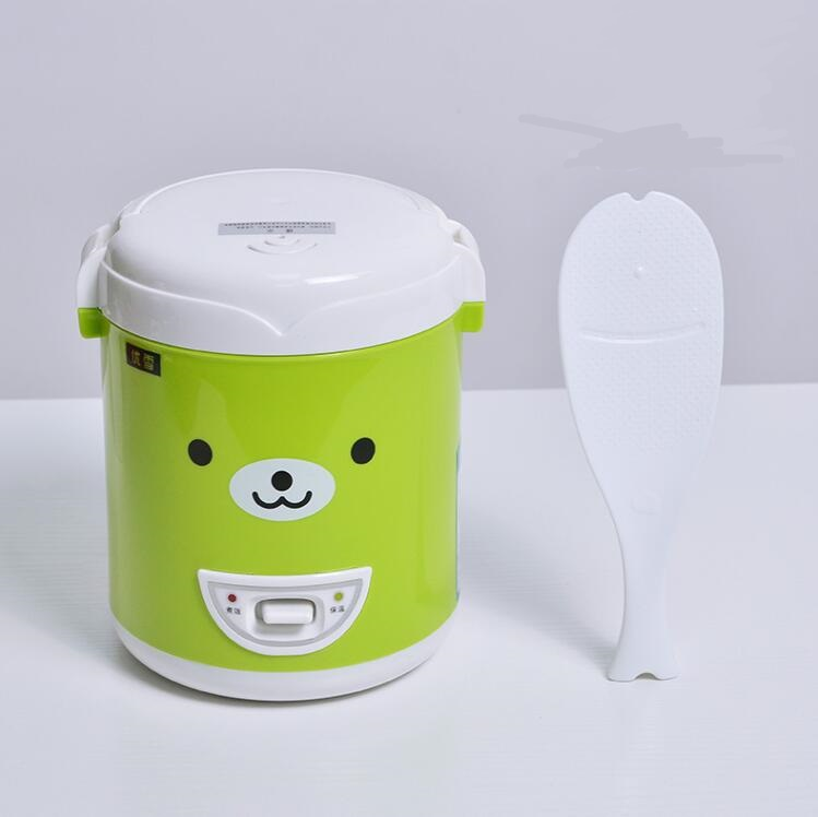 3 Cups Cute Multi function Electric Mini Rice Cooker 220V For House Food Steamer Student Dormitory Electric Lunch Box Green