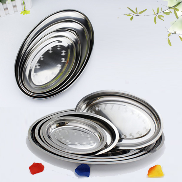 High Quality Non Magnetic Stainless Steel Plate Thickening Deepen Oval Plate Steamed Vermicelli Ordinary Shallow Dish 21-45CM