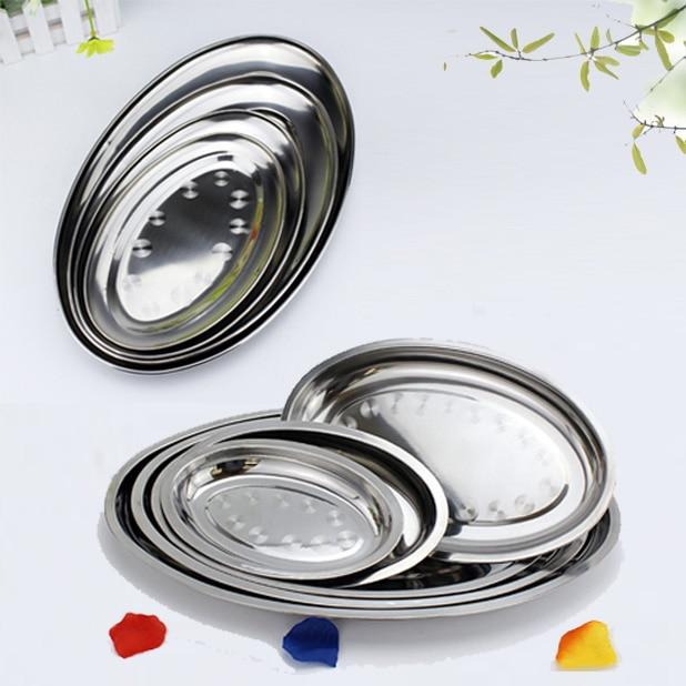 Placa de acero inoxidable no magnética de alta calidad engrosamiento placa ovalada al vapor fideos ordinarios plato poco profundo 21-45 CM