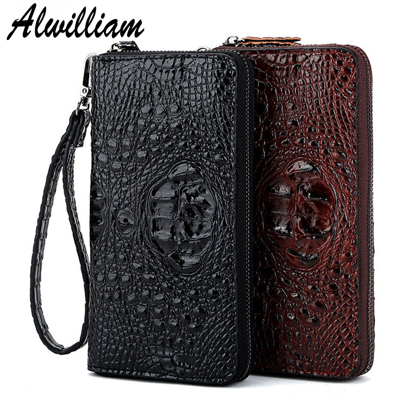 New Genuine Leather Men Wallets Long Clutch Vintage Crocodile Male Coin Card Holder Purse Fashion Wallet Men Clutch Bag Hot Sale 2017 new cowhide genuine leather men wallets fashion purse with card holder hight quality vintage short wallet clutch wrist bag