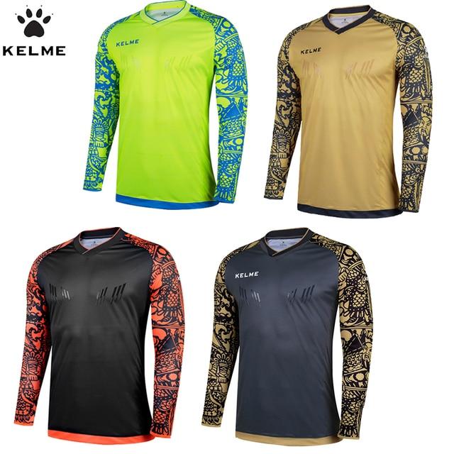 70fc9e042c6 KELME Tops Soccer Goalkeeper Clothing Men Soccer Jersey Kids Football  Goalkeeper Training Doorkeepers Long Sleeve K080