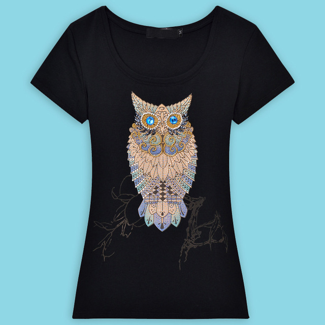 2016 Brand Fashion Short Sleeve T-Shirts Female Hand-Beaded Art Owl Poleras De Mujer T Shirt Tops For Women Clothing Plus Size