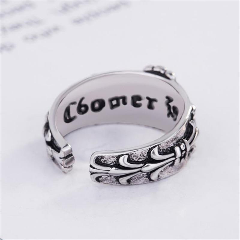 RONERAI Vintage Punk Thai Silver Cross Jewelry 925 Sterling Silver Rings For Men Women Biker Finger Ring Rock Style Accessories