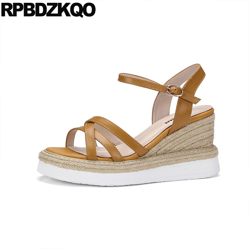 2ce38f265376 Pumps Strappy Shoes Soft Ankle Strap Espadrilles Genuine Leather Rope Women  Wedge Platform Sandals High Heels