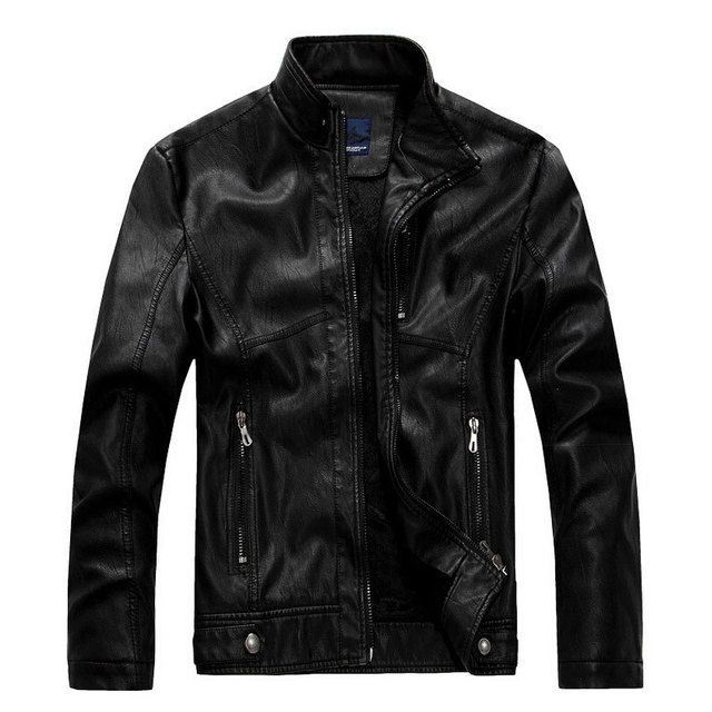 Leather Jacket Men Stand Collar Brand New Men's leather PU Jackets + Locomotive style Men's Slim Fit Leather Male Clothing