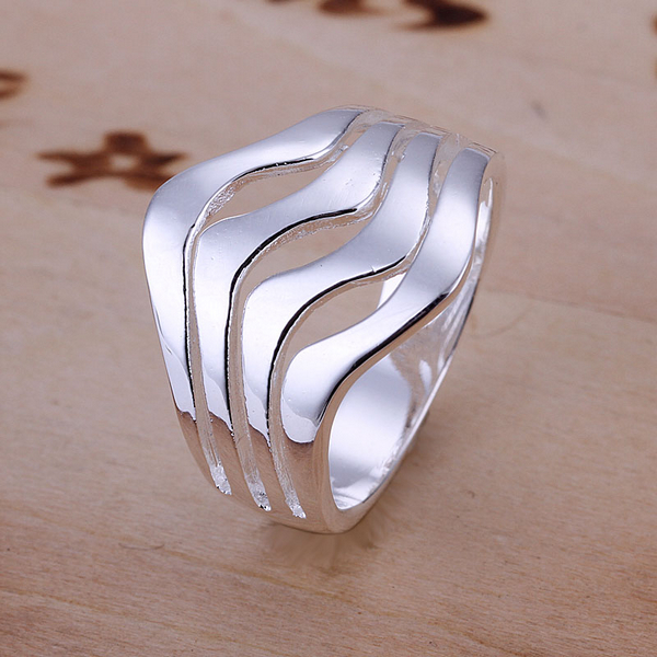 R123  Top Quality Silver Plated & Stamped 925 Water of wave wide Ring for Women Men Gift Silver Jewelry Finger Ring