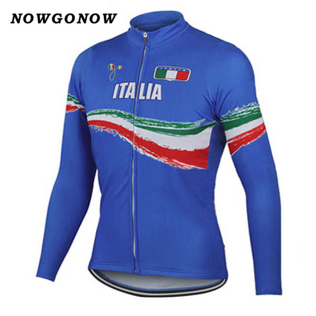 2017 cycling jersey italy national blue team professional long-sleeved  clothing cycling wear fleece and no fleece bike jersey 5448ef3a7