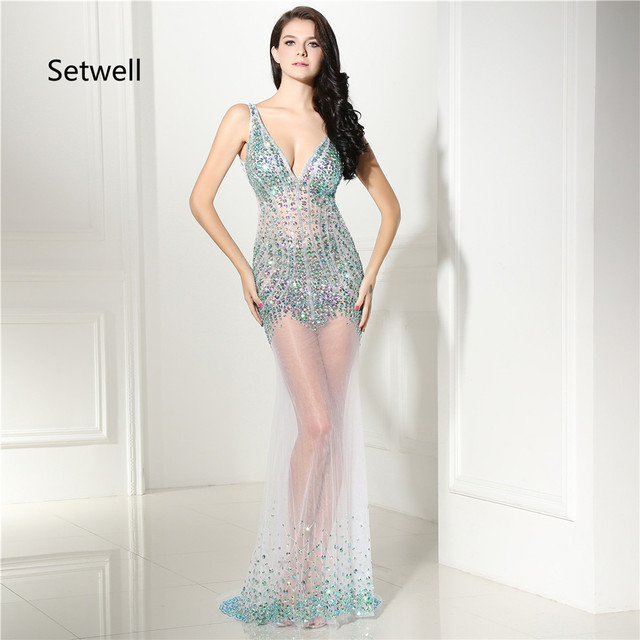 Setwell Newest Sexy Prom Dresses Plunging Neckine Backless Prom Dress  Luxury Sequin Beading Illusion Evening Dresses Gown c0d6946a2