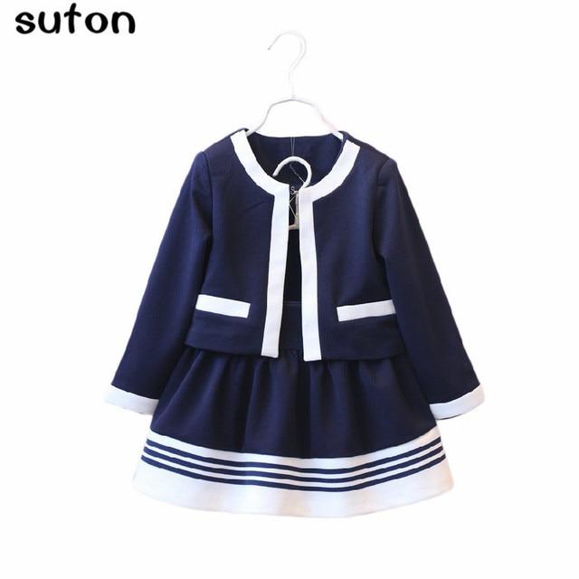 2017 Boutique Autumn kids Clothes Girls Clothing Set Navy Blue Short Jacket and Skirts Suits Children Formal School Uniform 3-7Y