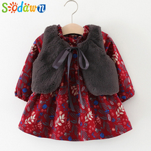 Sodawn Autumn Winter Baby Girls Clothing Floral Print Long Sleeve Princess Dress + Fur Vest Thickening Cashmere Girls Sets