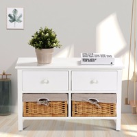 Giantex Wooden Storage Cabinet Organizer Table Home Furniture W/2 Baskets &Drawers White Home Furniture HW59522