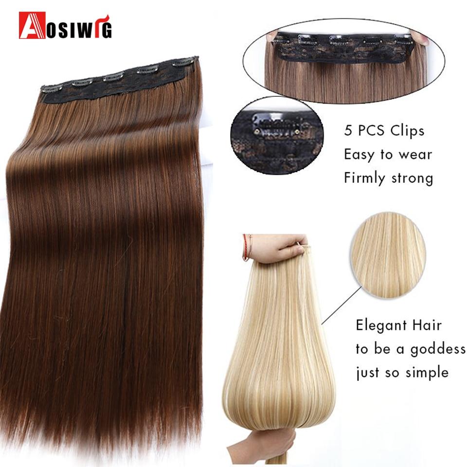 AOSIWIG Long Straight Women Clip i Hårförlängningar Black Brown - Syntetiskt hår - Foto 5