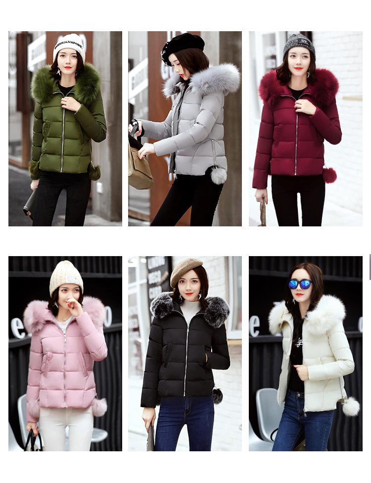 Short Women Basic Jackets Streetwear Warm Casual Coats Female Parka Cotton Hooded Winter Women Jacket Coat Outwear 19 DR114 2