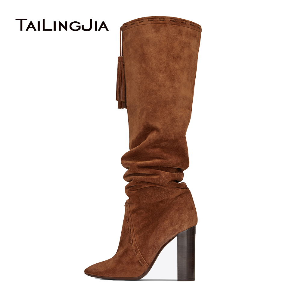 Brown Faux Suede Pointed Toe High Heel Tassel Slouch Boots Black Chunky Heel Slip on Fringe Knee High Boots Ladies Winter Shoes high quality suede boots women ankle strap chunky heel black brown fleeces buckles pu shoes winter high heel knee high punk shoe