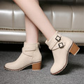 Outono e inverno das mulheres sapatos Europa estrela da moda do vintage das mulheres sapatos de salto alto Tornozelo botas de Neve botas curtas com zíper plus size 34-43