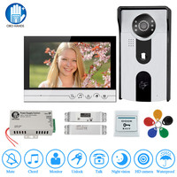 7 inch Color Video Intercom Kit Home Doorphone Screen Door Phone with Electric Bolt Lock+IR RFID Access Camera for private house