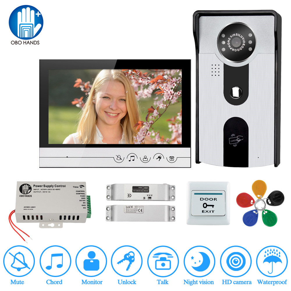 7 inch Color Video Intercom Kit Home Doorphone Screen Door Phone with Electric Bolt Lock+IR RFID Access Camera for private house eric tyson home buying kit for dummies