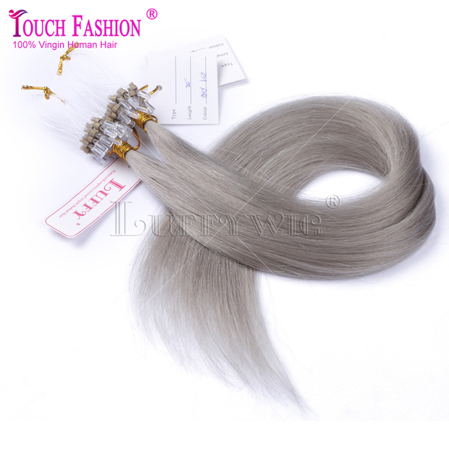 Best 10a Micro Loop Ring Links Virgin Straight Silver Grey Human