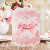 Wishmade Laser Cut Wedding Invitations with Pink Ribbon Bowknot Elegant Cardstock for Marriage Birthday Party Shower CW6066