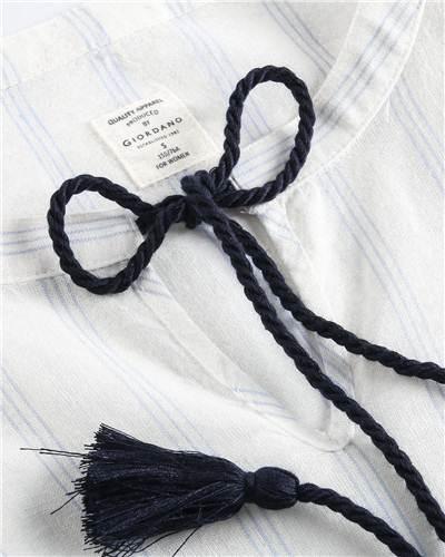 Giordano Femmes Robe Blouse Cordon Manches Bouffantes Qualité Lin Coton  Robe Blusa Feminina Printemps Automne Nouveau Robes dans Robes de Mode Femme  et ... 41603fc306fb