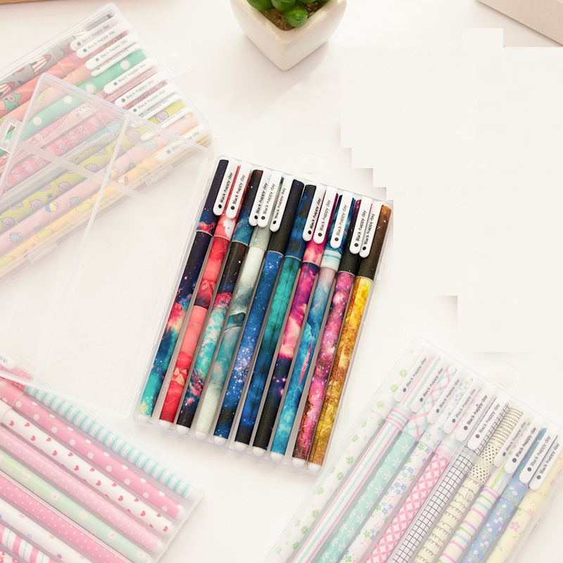 5 set Lot Extra fine 0 38mm roller ball pen Starry star Cute animal Black color pens Stationery Office School supplies CB366 in Ballpoint Pens from Office School Supplies