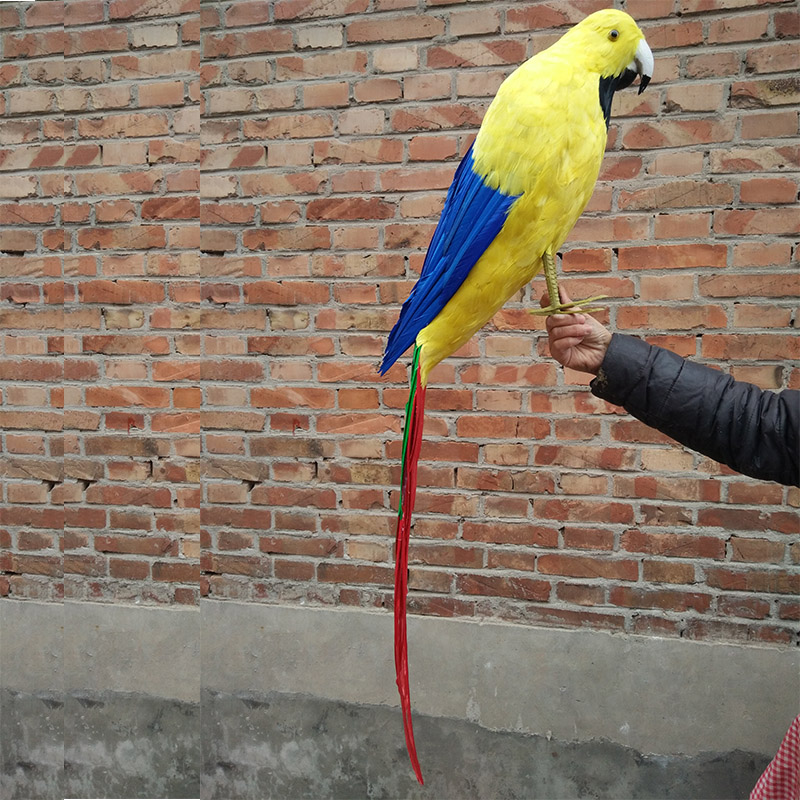 Vraie vie oiseau plumes perroquet énorme 100 cm jaune perroquet maison jardin décoration partie prop jouet cadeau h1458