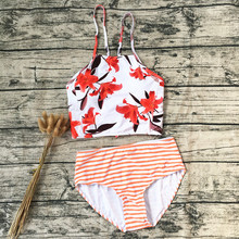 Sexy High Neck Bikini 2019 Swimwear Women Swimsuit Print Floral Halter Top High Waist Brazilian Bikini Set Padded Bathing Suits