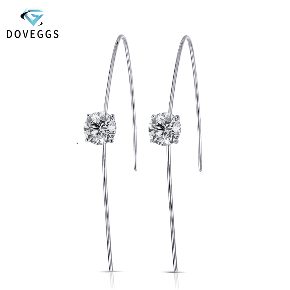 DovEggs 14K White Gold 2CTW 6 5mm GH Color Heart Arrows Cut Round Moissanite Hard Wire